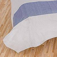 Cotton duvet cover, 'Dreamy Cadet Blue' - Guatemalan Cotton Duvet Cover in Cadet Blue and Pearl Grey