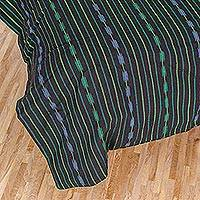 Cotton duvet cover, 'Striped Night' - Striped Cotton Duvet Cover in Black and Green from Guatemala