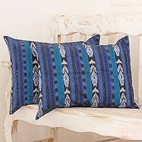 Cotton cushion covers, 'Long Blue Tradition' (pair) - 2 Handwoven Blue Cotton Ikat Cushion Covers from Guatemala