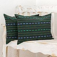 Cotton pillowcases, 'Peaceful Night' (pair) - 100% Cotton Pillowcases Black and Green (Pair) Guatemala