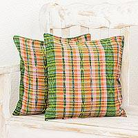 Cotton cushion covers, 'Cunen Garden' (pair) - Set of 2 Green Orange Yellow Square Handwoven Cushion Covers