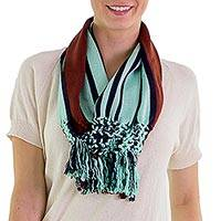 Cotton infinity scarf, 'Exuberant Beauty in Mint' - Brown and Mint Striped Cotton Infinity Scarf with Fringe