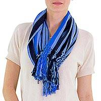 Cotton infinity scarf, 'Exuberant Beauty in Blue' - Blue Striped Cotton Infinity Scarf with Fringe