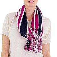 Cotton infinity scarf, 'Exuberant Beauty in Magenta' - Magenta Striped Cotton Infinity Scarf with Fringe