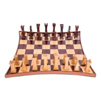 Hand-Crafted Tempisque and Rosewood Chess Set from Nicaragua