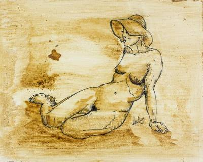 'Summer I' - Original Artistic Nude Mixed Media Painting in Ink