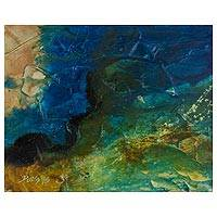 'Symphony 36' - El Salvador Original Abstract Seascape Painting in Mixed Med
