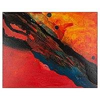 'Fire 78' - Original Mixed Media Abstract Painting of Fire