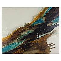 'Oxygen 79' - Salvadoran Earth Tone Original Mixed Media Abstract Painting
