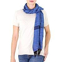 Cotton scarf, 'Mesmerizing Cobalt' - Dark and Light Blue Cotton Scarf Hand Woven in Guatemala
