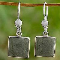 Jade dangle earrings, 'Mayan Universe' - Sterling Silver Jade Dangle Earrings from Guatemala