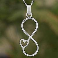 Sterling silver pendant necklace, 'Infinity Heart' - Sterling Silver Pendant Necklace Heart Shape from Guatemala