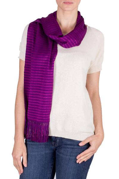 Cotton scarf, 'Striped Orchid' - Magenta Reversible Striped Cotton Scarf from Guatemala