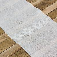 Cotton table runner, 'Party Runner' - Cotton Woven Table Runner with Fringes from Guatemala