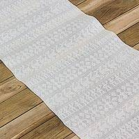 Cotton table runner, 'Daily Benedictions' - Cotton Woven Table Runner with Fringes from Guatemala