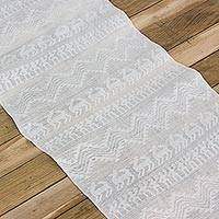 Cotton table runner, 'From the Country to the Table' - Cotton Woven Table Runner with Fringes from Guatemala