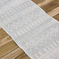Cotton table runner, 'Blessed Orchard' - Guatemalan Cotton Handwoven Table Runner with Fringe