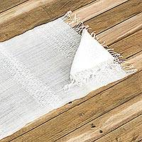 Cotton placemat and napkin, 'Traditional Dinner' (set of 2) - Cotton Placemat and Napkin with Fringes from Guatemala