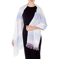 Cotton shawl, 'Harvest Season' - White and Blue Cotton Woven Shawl from Central America