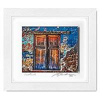 Photo collage, 'Layers of History' - Framed 3D Photo Collage Art of Rustic Doorway from Guatemala