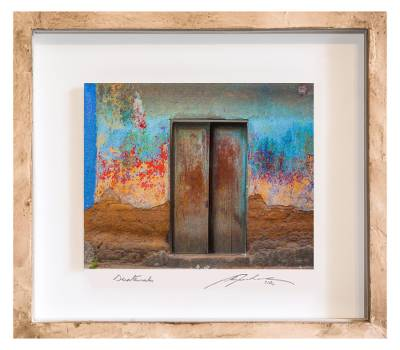 Framed 3d Photo Collage Art Multicolored Door From Guatemala