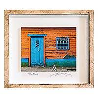 Photo collage, 'The Cat's House' - Framed 3D Photograph Collage Art Blue Door from Guatemala