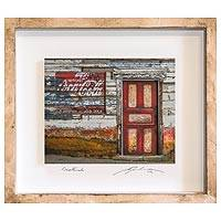 Photo collage, 'Neighborhood Store' (9 in.) - 3D Photo Collage Art Red and Cream Door Guatemala (9 in.)