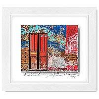Photo collage, 'The Bowels of the House' - Framed 3D Photograph Collage Art Orange Door from Guatemala