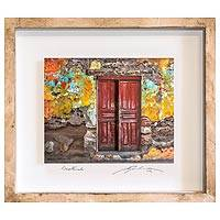 Photo collage, 'The Witness of Time' - Guatemalan Framed 3D Photograph Collage Art Deep Red Door