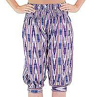 Cotton harem capri pants, 'Purple Arrows on Blue' - Blue Jaspe Handwoven Cotton Knee-Length Harem Capris