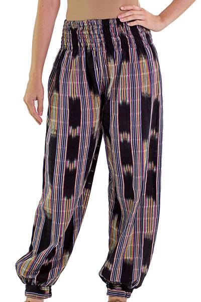 Cotton harem pants, 'Colorful Jaspe Night' - Multicolor and Black Handwoven Jaspe Harem Pants