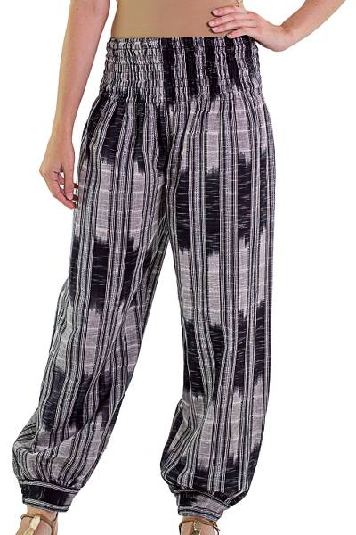 Cotton harem pants, 'Midnight in Mixco' - Jaspe Handwoven Cotton Harem Pants in Onyx and Oyster