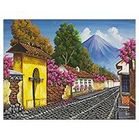 'Calle de las Animas II' - Signed Painting in Oils of a Guatemalan Town