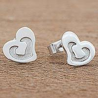 Sterling silver stud earrings, 'Harmonious Pair' - Sterling Silver Heart Shaped Stud Earrings from Guatemala