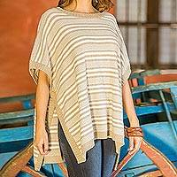 Cotton poncho, 'Striped Elegance' - Striped Cotton Poncho with Button Closure from Guatemala