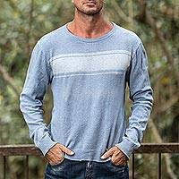 Men's cotton sweater, 'Sea Blues'