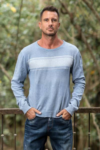 Men's cotton sweater, 'Sea Blues' - Men's Blue Cotton Sweater from Guatemala