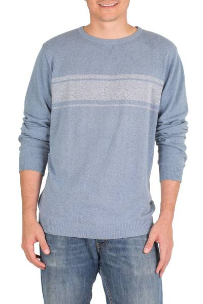 Men's cotton sweater, 'Sea Blues' - Men's Blue Cotton Sweater from Guatemala