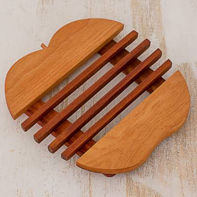 Cedar wood trivet, 'Sweet Apple' - Cedar Wood Trivet Apple Shape from Guatemala