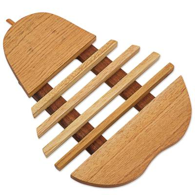 Cedar wood trivet, 'Fresh Pear' - Cedar Wood Trivet Pear Shape from Guatemala