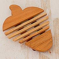 Cedar wood trivet, 'Cashew' - Cedar Wood Trivet Cashew Nut Shape from Guatemala