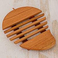 Cedar wood trivet, 'Juicy Mango' - Cedar Wood Trivet Mango Shape from Guatemala