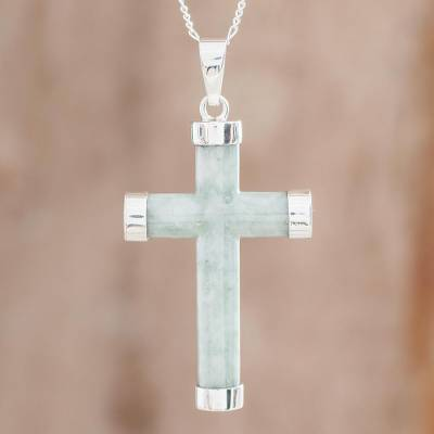 Jade pendant necklace, 'Green Mayan Cross' - Sterling Silver Green Jade Pendant Necklace from Guatemala