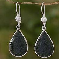 Jade dangle earrings, 'Drop of Love' - Sterling Silver Green Jade Dangle earrings from Guatemala