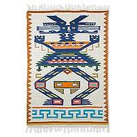Wool rug, 'Guardian of the Forest' (4x6) - Geometric Wool Area Rug in Prussian Blue and Pumpkin (4x6)