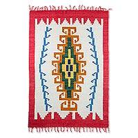 Wool rug, 'Sacred Maize' (4x6) - Geometric Wool Area Rug in Crimson and Pumpkin (4x6)