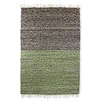 Wool rug, 'Nocturnal Meadow' (4x6) - Geometric Wool Area Rug Olive Champagne Coal Black (4x6)