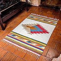 Wool rug, 'Mayan Rays' (4x6) - Geometric Spiral Wool Area Rug in Multicolor (4x6)