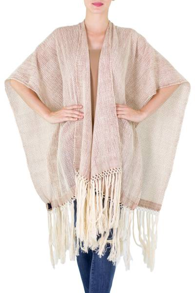 Cotton ruana, 'Natural Combination in Beige' - Pale Beige Cotton Ruana with Fringes from Guatemala