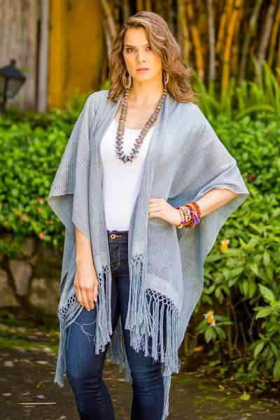 Cotton ruana, 'Natural Combination in Blue' - Steel Blue Cotton Poncho with Fringes from Guatemala